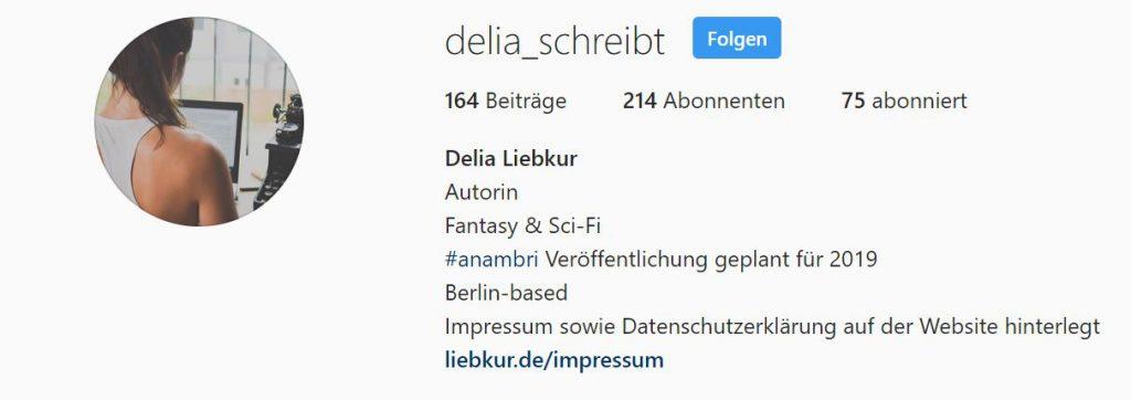 Beispiel einer Impressum Verlinkung auf Instagram.